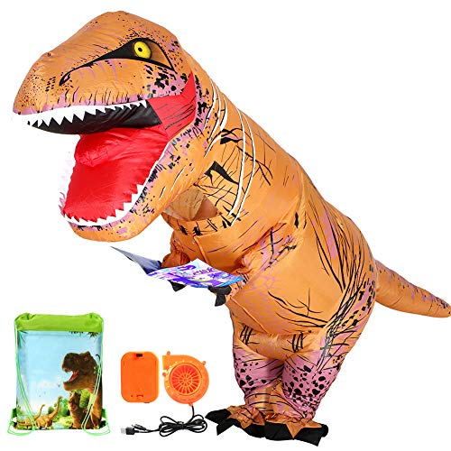 Adults T Rex Costume Dinosaur Inflatable Costume with Drawstring Bag for Halloween (Adults)