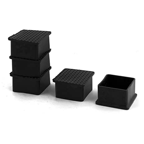 Home Mart Furniture Foot Cap Rubber Rectangle Anti Slip Table Cover Black  50 X 50 Mm