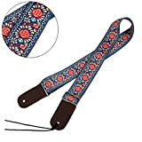 Jacquard Weave Hootenanny Style Electric Guitar Strap Acoustic Strap Bass Strap Ukulele Strap with Tie, Leather Ends C12