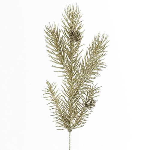 Factory Direct Craft Champagne Glittered Artificial Angel Pine Picks for Indoor Use - 12 Picks