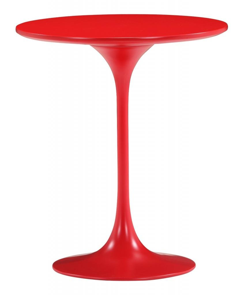 Glossy Red Pedestal Side Table by America Luxury - Tables