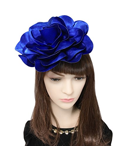 Big Womens Fashion Silk (YSJOY Elegant Silk Satin Big Rose Flower Fascinator Derby Hat 8inch Flower Bridal Wedding Hat Tea Party Hat Church Hair Aceessory Blue)