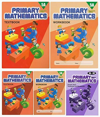 Singapore Primary Mathematics Grade 5 Kit + Answer Keys (5 Books) - Textbooks 5A and 5B, Workbooks 5A and 5B, and Answer Key 4A-6B (Standard ()