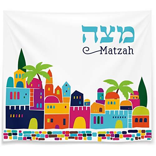 Passover Matzah Cover, 3 Layered Satin Matza Bag for The Passover Seder (Matzah Cover White Satin)