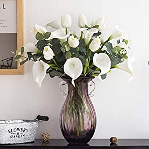 Silk Flower Arrangements YILIYAJIA Calla Lily Artificial Tulips Bouquets Bridal Real Touch Flowers with Silver Dollar Eucalyptus for Wedding Home Table Decoration (White and White)