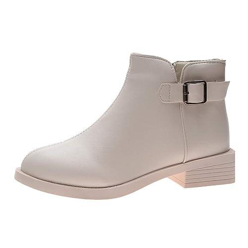 Botines Tacón Ancho Bajo para Mujer Invierno Primavera 2019 PAOLIAN Botas Chukka Cuña Tobillo Altas Casual Zapatos de Piel sintético Vestir Tallas Grandes ...