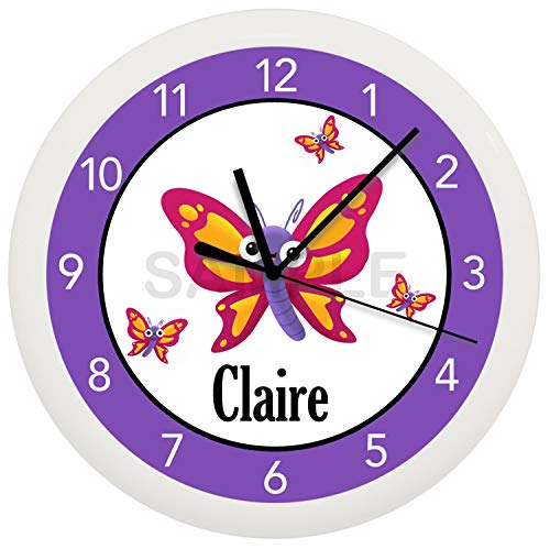 Susie85Electra Personalized Purple and Pink Butterfly Wood Wall Clock Modern Decorative Non Ticking for Living Room Kids Bedrooms 12 Inch -
