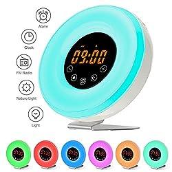 Sunrise Alarm Clock Wake Up Light Touch Digital Smart Clock Geefawa 7 Colors Changing Night Light Nature Sounds FM Radio Atmosphere Lamp for Kids Bedroom Bedside