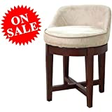 Round Vanity Chair Wooden Cherry Frame Faux-Suede Beige Upholstery Padded Tufted Swiveling Modern Make Up Small Bathroom Vanity Chair eBook by Easy&FunDeals