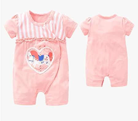 Baby Conjoined Clothes Summer 100% Cotton Thin Section Of Non-Hooded Female Baby Light Powder Go Out To Climb Clothes  66cm B0755FMM42