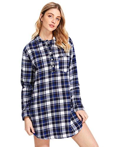 Latuza Women's Cotton Flannel Nightgown 2X Blue