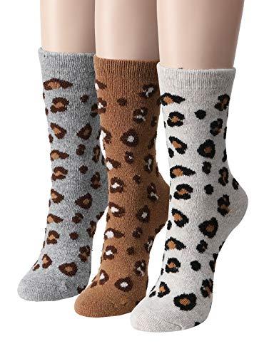 Leopard Print Snow Boots - OSABASA Women's Leopard Print Wool Crew Socks (KWMS426-SET2)