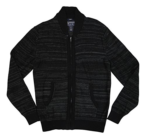 American Rag Mens Small Stripe Knit Full Zip Sweater Black S