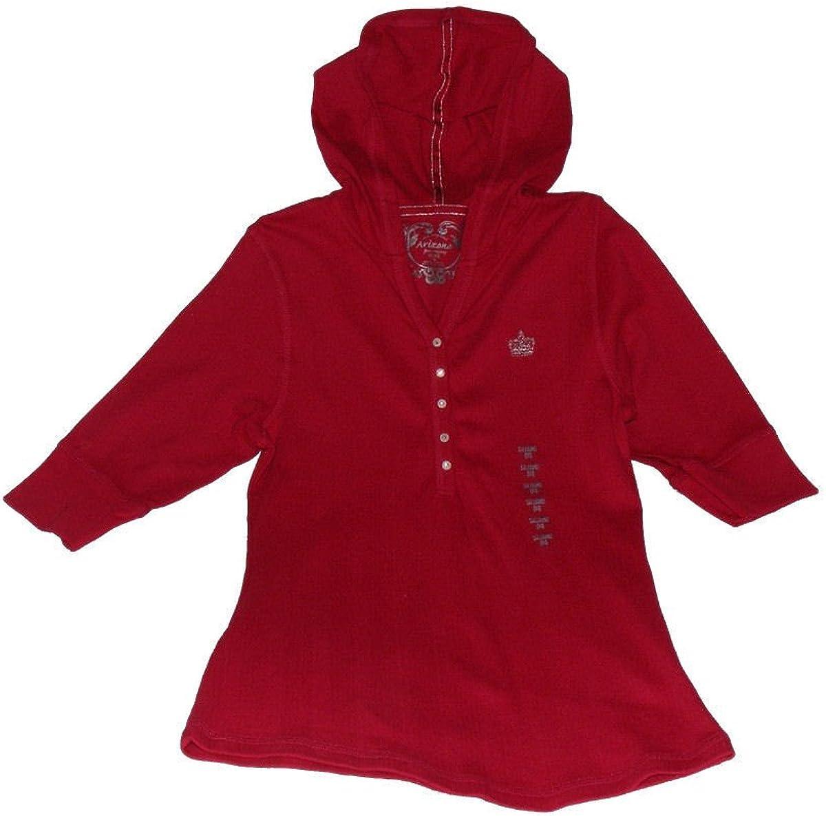 Kids Girls XL 18 3//4-Sleeves Hooded Top Dark Red AriZona