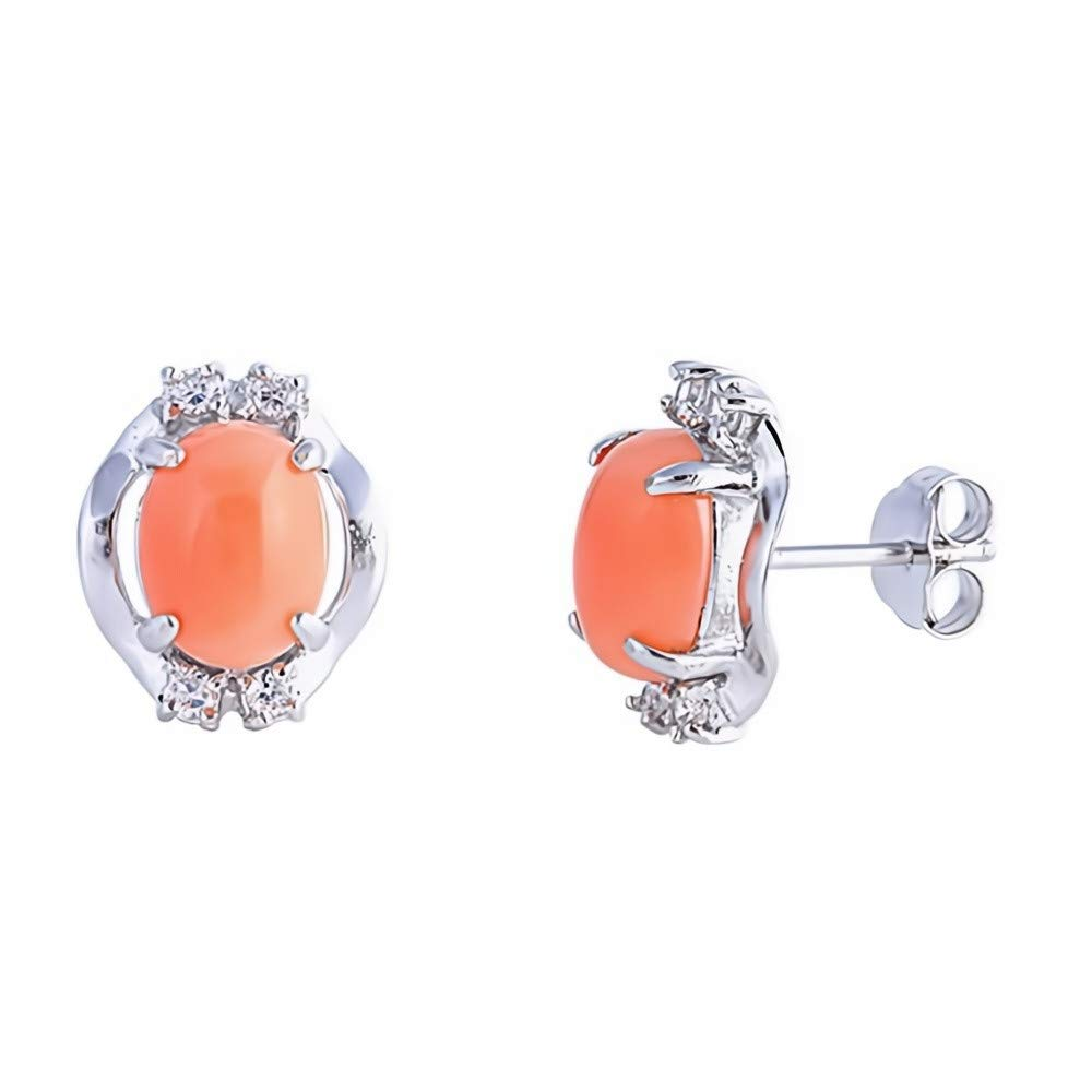 Jewelry Gift Simulated Coral Glitzs Jewels 925 Sterling Silver Earrings with Stone