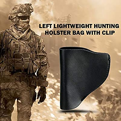 Walmeck Left Portable Lightweight Hunting Gear Holder Bag Leather Concealed Carry Holster Bag with Clip