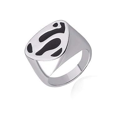 sorella z mens stainless steel black superman logo ring amazon in