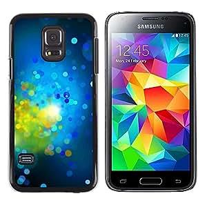 TopCaseStore / la caja del caucho duro de la cubierta de protección de la piel - Green Bright Dots Spots Abstract - Samsung Galaxy S5 Mini, SM-G800, NOT S5 REGULAR!
