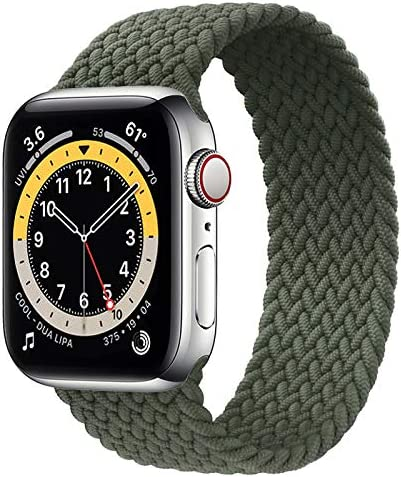 WAAILU Solo Loop Braided Band Woven Compatible for Apple Watch SE Series 6 40mm 44mm Compatible for Iwatch 5/4/3/2/1 38mm 42mm-(Green-38/40-4)
