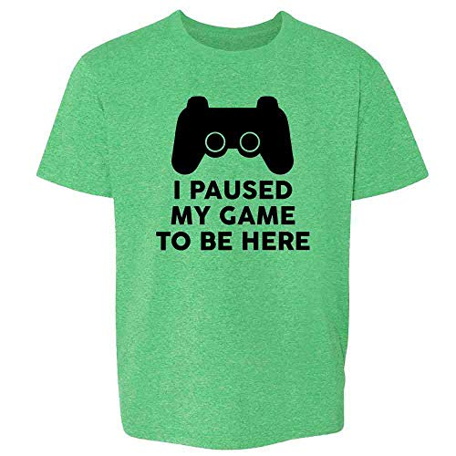 I Paused My Game to Be Here PS Controller Gamer Heather Irish Green M Youth Kids Girl Boy T-Shirt