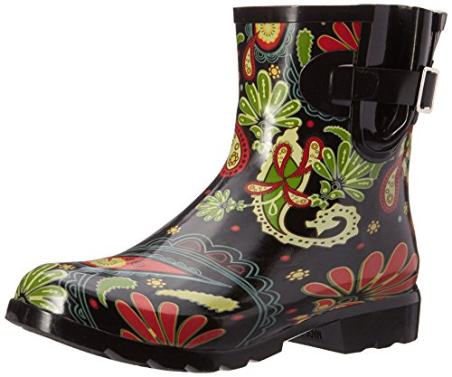 Nomad Women's Droplet Rain Boot Black Paisley