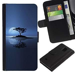 Ihec-Tech / Flip PU Cuero Cover Case para Samsung Galaxy S5 Mini, SM-G800, NOT S5 REGULAR! - Lonely Island Moon
