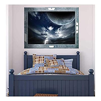 Wall26 - Science Fiction ViewPort - Decal - The Moon and the Lightening - Wall Mural, Removable Sticker, Home Decor - 36x48 inches