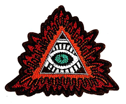 Eye Eyeball Tattoo Cartoon Classic red Triangle Devil's Eye Halloween Festival Logo Patch Jacket T-Shirt Sew Iron on Patch Badge Embroidery ()