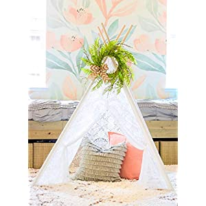 Tiny Land 22 Inches Spring Wreath for Front Door with Knotted Bow, Handcrafted Wicker Rattan Loop Frame | Faux Home Decorative Display | Rustic, Farmhouse Decor 7