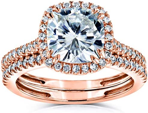 Kobelli Cushion Brilliant Moissanite Halo Bridal Wedding Rings Set 2 3/8 CTW 14k Rose Gold
