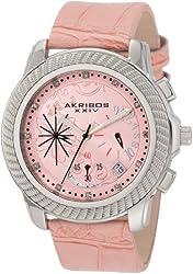 Akribos XXIV Women's AKR438P Ultimate Quartz Chronograph Diamond Pink Dial Watch