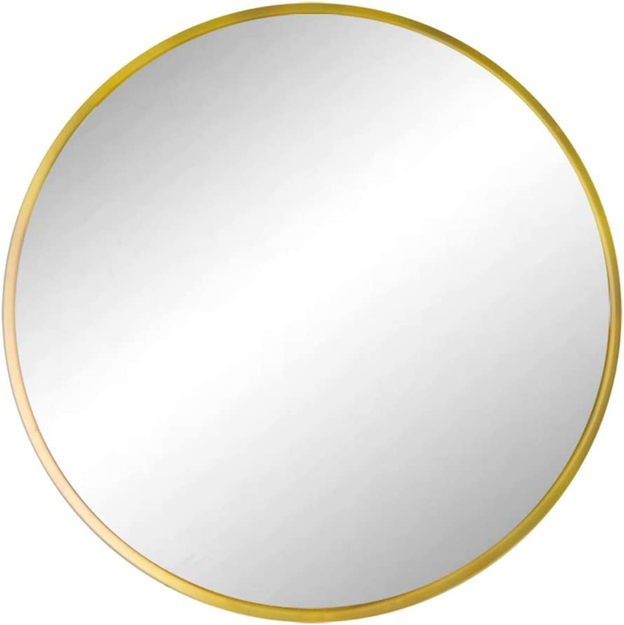 Huimei2Y 19.7 Inches Round Mirror with Golden Metal Frame, Wall Mount Circle Mirror for Makeup Bathroom Bedroom Living Room Entry Home Decor, Gold