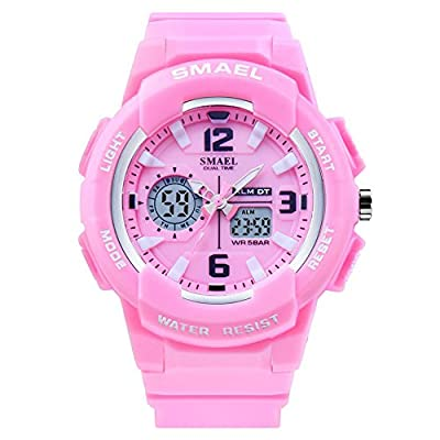 SMAEL Women's Sport Wrist Watch Quartz Dual Movement with Analog-Digital Display Watches for Women by SMAEL
