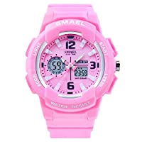 SMAEL Women's Sport Wrist Watch Quartz Dual Movement with Analog-Digital Display Watches for Women (Pink)