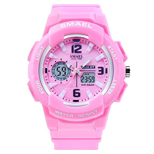 SMAEL Kids Sports Wrist Watch Quartz Dual Movement with Analog-Digital Display Watches for Boy Girl (Pink)