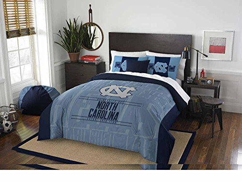 NCAA North Carolina Tar Heels Ultimate 12pc Ensemble: Includes full/queen comforter, 2 shams, full flat sheet, fitted sheet, 2 pillowcases, rug, pillow, throw, and 2 curtain panels ()