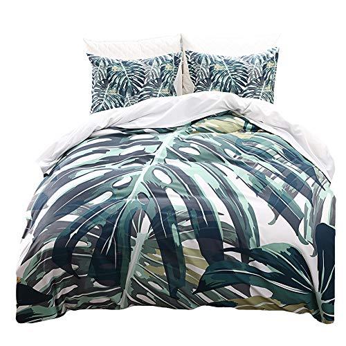 (Green Palm Tree Bedding Tropical Duvet Cover Set Green Leaf Printed Design Dark Green Leaf Bedding Sets King (104