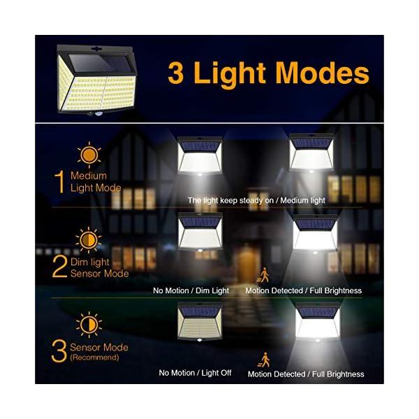 Luce Solare LED Esterno, [ 4 Pezzi 228 LED] Faretti Solari a Led da Esterno Lampada da Esterno con Sensore di Movimento IP65 Impermeabile 3 Modalità per Giardino, Parete Wireless Risparmio Energetico 2 spesavip
