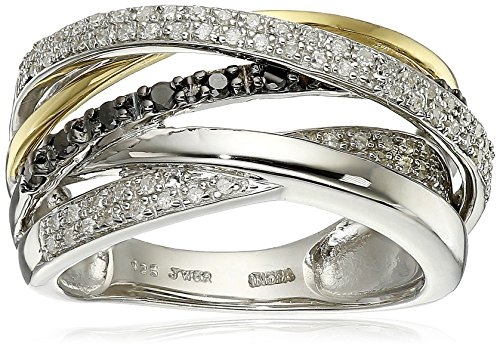 18k Gold Plated Sterling Silver Black and White Diamond Orbit Ring (1/3 cttw) Size 8 by Amazon Collection