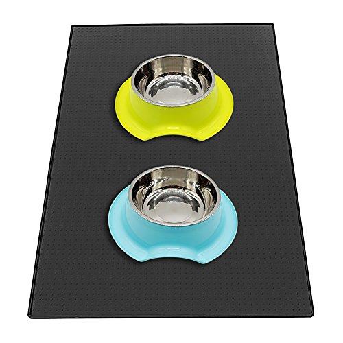 Sanzang Futternapf-Matte Silikon Platzdeckchen für Hunde wasserdicht rutschfest Napfunterlage für Katzen