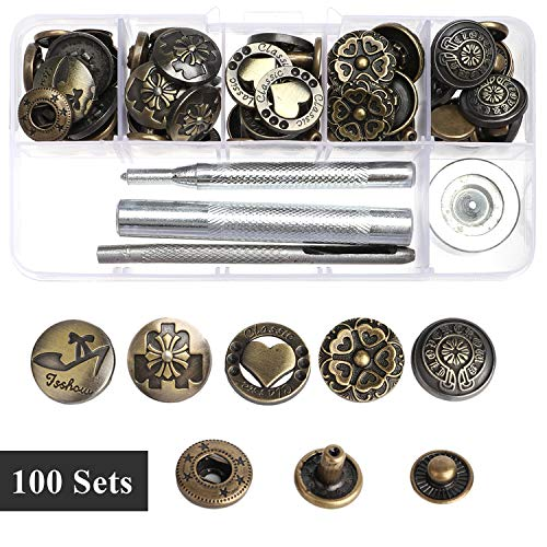 100 Sets Snap Fasteners Kit, 17 mm Big Size Metal Clothing Snaps Kit with Fixing Tools, Leather Rivets + Snap Buttons Press Studs + Double Cap Rivet for Bracelet, Bags, Leather, Coat, Down Jacket - Rivet Style