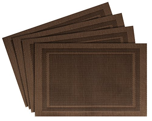 Nuovoware Placemats, [4 Pack] 30 x 45 cm Premium Exquisite Crossweave Stain Resistant Heat-Resistant Non-Slip Textilene Woven Kitchen Table Dining Pads Place Mats, Brown, Pattern B