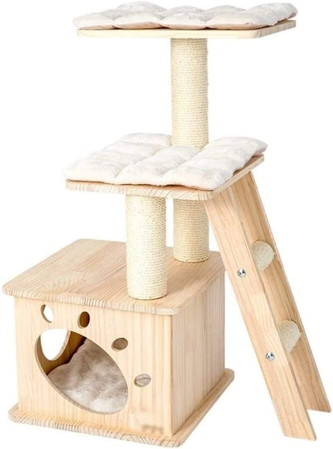 Llnn Cat Tree Modern Cat Tree Cat Tower For Indoor Cats Cat Furniture Cat Condo Solid Wood Cat House Cat Tree With Platform And Soft Pad Scratching Posts Pet Play House