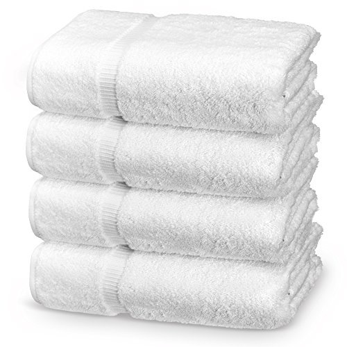Indulge Linen Extra Soft Bath Towels, Set of 4, 100% Turkish Cotton, White