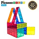 PicassoTiles Kids Toy Magnetic Building Blocks Magnet Tiles Supersized 12pc Large Stabilizer Base Jumbo XL Plate Foundation Education Construction Kit Engineering STEM Children Learning Stacking Set
