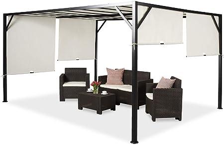 Garden Point Pérgola de Terraza Santorini | 300 x 400 cm jardín para Cubrir Muebles de jardín y Jacuzzi | Montaje fácil | Crema: Amazon.es: Jardín
