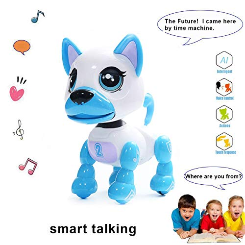 Interactive Puppy - Smart Pet, Electronic Robot Dog Toys for Age 3 4 5 6 7 8 Year Old Boys and Girls, Gifts for Kids ● Voice Control&Intelligent Talking (White)