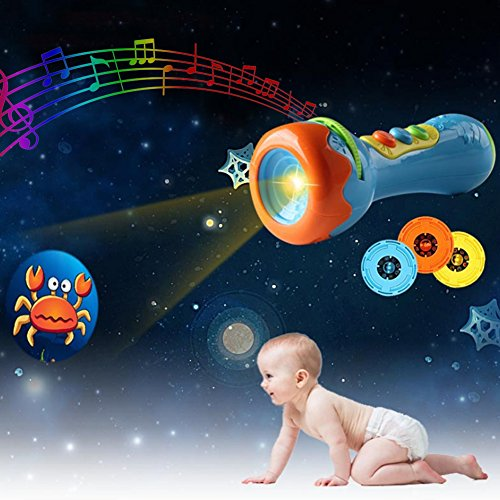 Film Toys - Per Kids Projector Torch with Music Luminous Flashlight Toy with 4 Films 32Patterns for Children Toddlers-Chinese Version