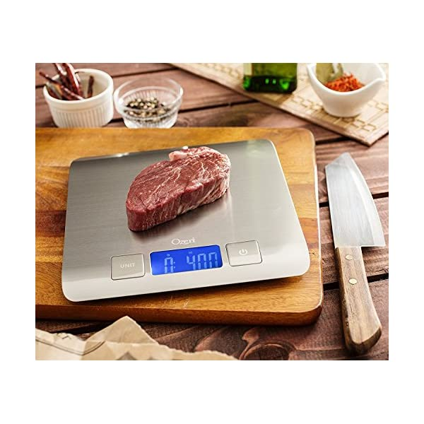 Zenith Digital Kitchen Scale by Ozeri, in Refined Stainless Steel with Fingerprint Resistant Coating 51jrZotQt1L