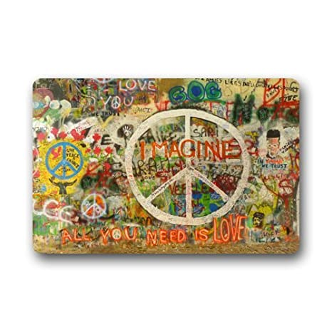 Non-Slip Rectangle Peace Sign Graffiti All You Need Is Love Design Indoor and Outdoor Entrance Floor Mat Doormat - 23.6